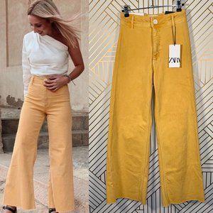 Zara Premium Marine Straight Wide Leg Jeans Yellow